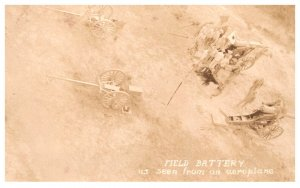 WW 1     Field Battery as seen from an aeroplane, 7 inch Seige guns