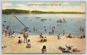 Conneaut Lake Park Pennsylvania~Bathing Beauties Hit Beach~Slide~1944 Linen PC