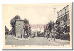 Saint Cloud Old Postcard Boulevard of the Republic and street Montretout