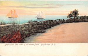 BAY RIDGE NEW YORK SHORE ROAD & VIEW OF SAILBOATS ON THE WATER FRONT POSTCARD