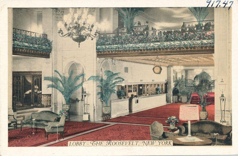The Lobby at Hotel Roosevelt on Madison Avenue NYC, New York City - WB
