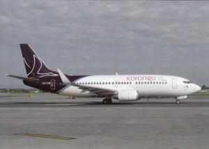 KORONGO AIRLINES, Boeing 737-3M8, OO-LTM c/n 25070, unused Postcard