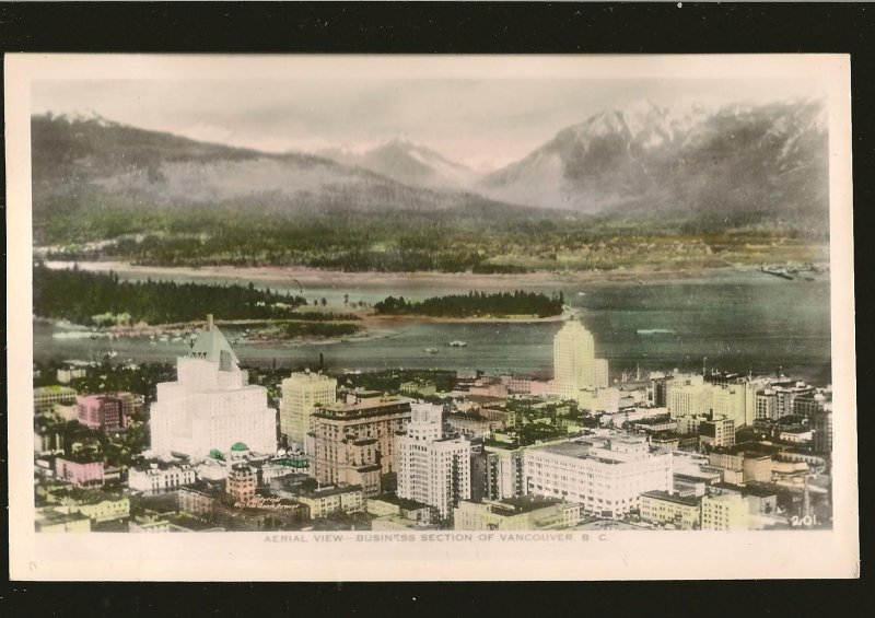 Postmarked 1945 Aerial View Vancouver BC Gowen Sutton Color Postcard
