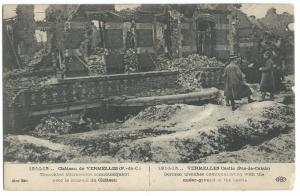 WW1 Ruins Chateau De Vermelles PPC Unposted c 1915, German Trenches in Castle