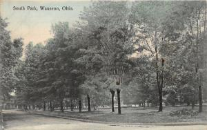 Wauseon Ohio~South Park~Lots of Trees on Grass~c1910 Colored Postcard