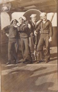 Military Sailors Posing On Ship Real Photo