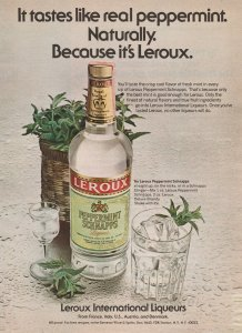 Leroux Peppermint Schnapps 1979 Print Ad, Tastes like real peppermint