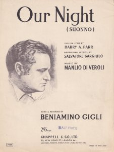 Our Night Beniamino Gigli Classical Sheet Music