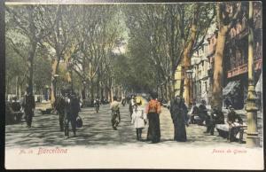 Vintage Picture Postcard Unused Barcelona Paseo de Gracia Spain LB