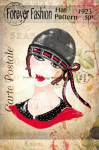 Postcard French Vintage Shabby Chic Style Forever Fashion Hat Flowers 54J