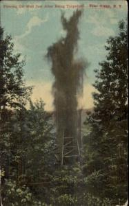 Olean NY Flowing Oil Well c1910 Postcard