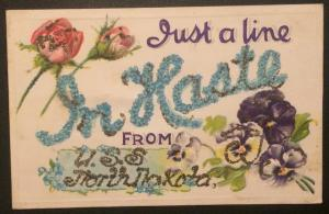 Just a Line in Haste from U.S.S. North Dakota, Glitter Highlights 1910 or 1918