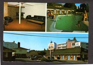 OR City Center Lodge Hotel Motel Eugene Oregon Postcard Pool Interior