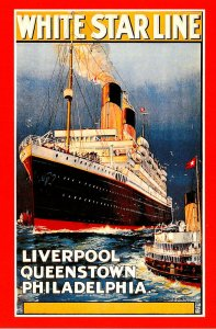 Advertisiong Cunard Line White Star Line Liverpool Queenstown Philadelphia Ma...