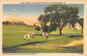 Old Vintage Golf Postcard Post Card Country Club House from Golf Course Roano...