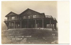 Mt Tabor VT Clark Hunting Lodge 1908 RPPC Real Photo Postcard