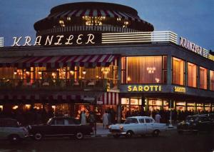Vintage Postcard BERLIN Cafe Kranzler GERMANY Classic Cars