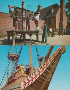 Pillory Stocks Whipping Post Public Gaol Williamsburg Pirates 2x Postcard s