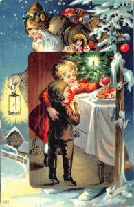 Brown Suited Santa Claus Christmas Children Apples #481 Postcard