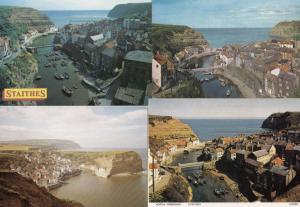 Staithes Boats 4x Aerial Birds Eye Postcard s