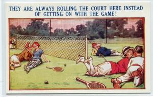 Tennis Rolling The Court Match Courting Love Romance Couple postcard