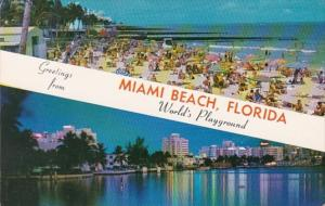 Florida Greetings From Miami Beach Showing Ocean Front Hotels and Beach Scene