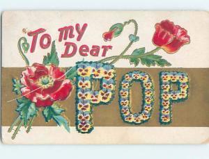Pre-Linen LANGUAGE OF FLOWERS - TO MY DEAR POP - SPELLED IN FLOWERS ho4181
