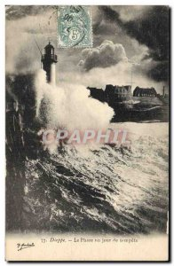Old Postcard Dieppe Lighthouse Lighthouse one day storm