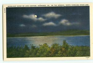 Vintage Postcard N-777 Night Scene State Line Georgia /  North Carolina  # 2204