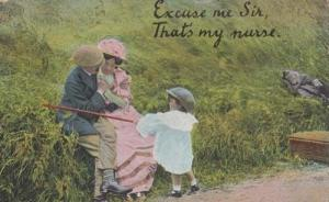 Stop Kissing My Nurse Flirting Fishing Rod Antique Risque Postcard