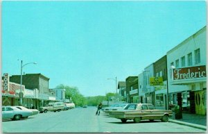 Frederic, Wisconsin Postcard Downtown Street Scene c1960s Chrome Unused
