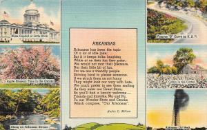 AR, Arkansas  POEM by AUDRY C MILUM & Multiple State Views 1947 Linen Postcard