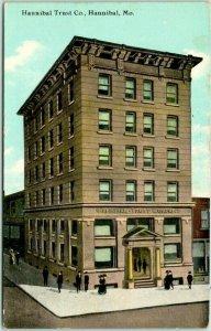 1921 Hannibal, Missouri Postcard HANNIBAL TRUST CO. Bank Building Street View