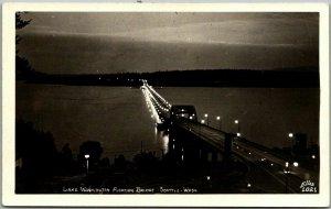 Seattle, WA RPPC Postcard Lake Washington Floating Bridge Night ELLIS Photo 1021