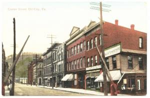 Oil City PA Center Street View Store Fronts Railroad Crossing 1909 Postcard
