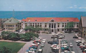 CURACAO, 1940-1960´s; Willemstad's Municipal Building, Classic Cars
