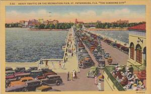 Florida St Petersburg Heavy Traffic On The Recreation Pier 1952 Curteich