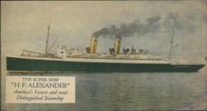 Super Ship H.F. Alexander Admiral Line PSS Co c1910 Postcard