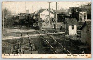 Eureka Illinois~Train at Railroad Depot~Hard & Soft Coal Seller~1910 CU Williams