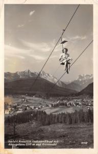 Seefeld Austria Ostenreich~Lady in Skilift~Ahrnspitzen~Karwendel~Vintage RPPC