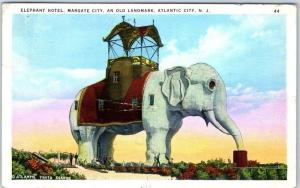 Atlantic City, New Jersey Postcard ELEPHANT HOTEL, Margate City Linen 1936