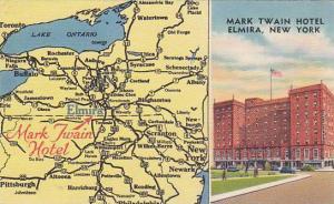 Map , Greetings from Mark Twain Hotel, Elmira, New York, 30-40s