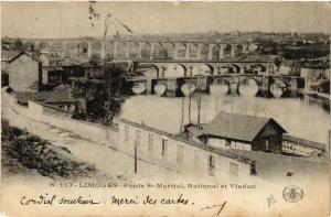 CPA Limoges - Ponts St-Martial, National et Viaduc (390674)