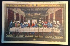 Last Supper Window Forest Lawn Glendale CA Unused Linen Postcard LB