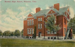 Wauseon OH~Side Steps to Normal High School~1910 Postcard