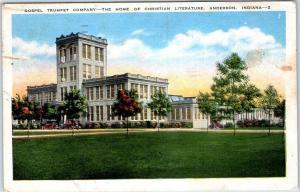 Anderson, Indiana Postcard GOSPEL TURMPET COMPANY Building View Linen 1951