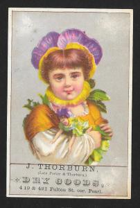 VICTORIAN TRADE CARD Thorburn Dry Goods Flower Girl