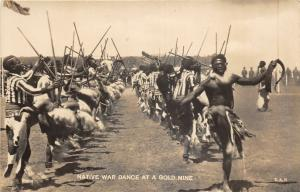 br104342 native war dance at a gold mine  africa real photo south africa