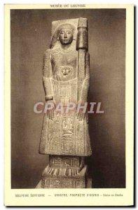 Old Postcard Sculpture Egyptian Unnofre Prophet d & # 39Osiris diorite statue...