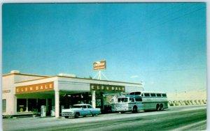 GLENDALE, Nevada NV  Roadside CHEVRON STATION & GREYHOUND BUS 1950s Car Postcard